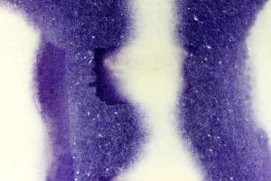 Close up of the biogenic textile design, the purple colour/design only appears where the two species of bacteria are communicating